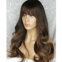 ombre full lace wigs Australia - Fringe Wig Ombre Honey Blonde Highlights 13x6 Lace Front Human Hair Wig Body Wave Remy Brazilian full lace wigs with bangs preplucked