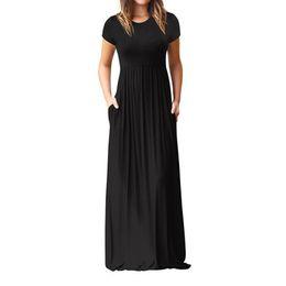 $enCountryForm.capitalKeyWord Australia - Hot Sale Floor Length Dress Women O Neck Casual Pockets Short Sleeve Loose Party Dress Vestido Longo De Festa J190622