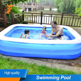 inflatable tub pool UK - 110 128 155CM Rectangular Inflatable Swimming Pool Thicken PVC Paddling Pool Bathing Tub Outdoor Summer Swimming For Kids
