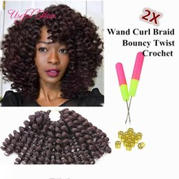 curl hair braiding UK - high quality 8inch wand curl bouncy twist crochet hair extensions ,Janet Collection synthetic braiding hair ombre crochet braiding hair