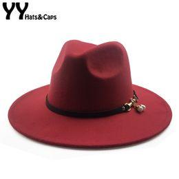 c341761442742 YY Church Cap Women Elegant Pearl Fedora Winter Warm Hats 9 Colors Wide Brim  Vintage Trilby Cap Felt Top Jazz Panama Hats 18127 D19011102