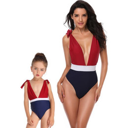 845ac3b048 Mother and Daughter Deep V One-Pieces 2019 Summer Girls Ladies Sexy One-Pieces  Swimwear Bathing Suits Family Matching Mommy Baby Swim Suit