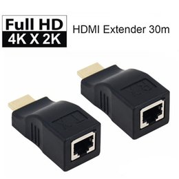 projector rj45 UK - 30m 4K HDMI Extender Transmitter TX RX HDMI V1.4 HD 1080P Over Cat5e CAT6 RJ45 Ethernet Cable For TV Projector DVD hot
