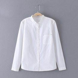 Spandex blouSeS online shopping - Women Clothes Blouses For Women White Blouse Cotton Tops And Blouses Stand Collar Long Cap Sleeve Blusas Femininas Shirts C4270