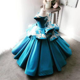 Feather Cap Sleeves Australia - 2019 Girl's Pageant Dresses Cap Sleeve Feather 3D Applique Beads Formal Party Dress For Girls Lace-up Back Satin Flower Girl Dress