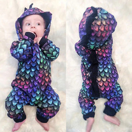 Discount baby boy dinosaur clothes Hot Kids Clothes Boys Clothing Newborn Baby Boy Clothes Dinosaur Colorful Hooded Romper Jumpsuit Infant Toddler One-piec