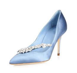 f8b718a1a2 2019 Luxury Crystals Blue Wedding Shoes 3.5 Inch High Heels Luxury Shining Bridal  Shoes Real Leather Party Sandals Shoes For Women