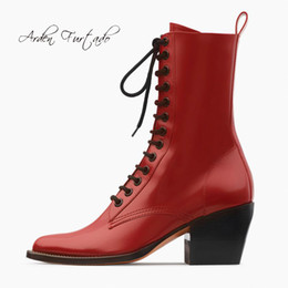 $enCountryForm.capitalKeyWord NZ - Arden Furtado 2019 spring autumn chunky heels matin boots red ankle boots cross tied square toe fashion women's shoes big size
