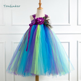 Petal tutu dress black online shopping - Girls Petal Tulle Tutu Peacock Feather Dress Christmas Baby Princess Girl Party Dress Flower Girl Birthday Costume