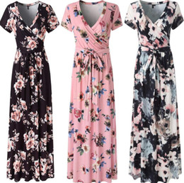 $enCountryForm.capitalKeyWord Canada - Wholesale and retail Women's floral print short-sleeved boho evening dress evening dress long dress summer beach skirt