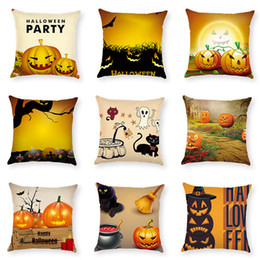 $enCountryForm.capitalKeyWord Australia - Creative Cartoon Cotton Linen Pillow Cushion Cover Pumpkin Cat Square Pillow Case Pillowslip Halloween Party Home Decoration