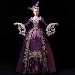 Empire Lace Applique Dress Australia - 2019 Autumn Winter Purple Flare Sleeve Marie Antoinette Dress Appliques Lace Nightclub Stage Party Ball Gowns For Girls