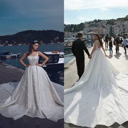 formal wedding gowns Australia - 2020 Elie Saab Ball Gown Wedding Dress Beads Feather Applique Chapel Length Gown Dress Satin Strap Formal Dresses