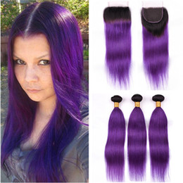 brazilian straight hair 3bundles 18 inches Australia - #1B Purple Ombre Brazilian Human Hair Straight Weave Bundles with Closure Ombre Purple Virgin Hair 3Bundles Dark Roots with 4x4 Lace Closure