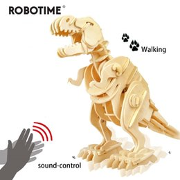 dinosaur toy sound UK - Robotime Creative DIY 3D Walking T-rex Wooden Puzzle Game Assembly Sound Control Dinosaur Toy Gift for Children Adult D210 Y200317