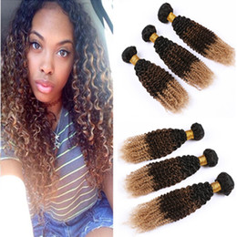 human hair weave curly bundles Australia - #1B 4 27 Ombre Kinky Curly Brazilian Human Hair Weave Bundles Honey Blonde Dark Roots Virgin Hair Extensions Kinky Curly Three Tone