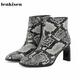 $enCountryForm.capitalKeyWord Australia - Lenkisen new snake genuine leather high heels square toe fashion streetwear sexy mature winter keep warm women ankle boots L3f1