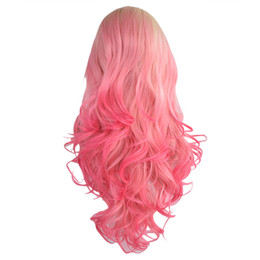 Front Stand NZ - Factory price 1pc Women Fashion Lady Pink+Gold Long Gradient Curly Hair Lace Front Wig Lace Net Cosplay Wigs Stand Stocked Feb20