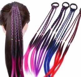 Braided ponytail wig online shopping - Colorful Ponytail Hair Ornament Wig Headband Rubber Bands Bands Headwear Kids Twist Braid Rope Hair Accessories