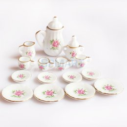 pink dishes set Australia - doll house miniatures 15 Peices Dolls House Miniatures Dining Ware Porcelain Tea Set Pot Cup Dish Pink Rose
