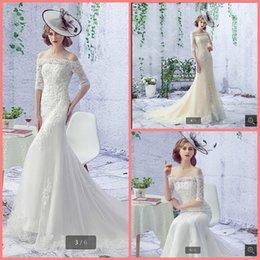 $enCountryForm.capitalKeyWord Australia - 2019 Robe de Mariage white lace Mermaid wedding dress appliques beaded off the shoulder half sleeve sexy stylish bride gowns hot sale