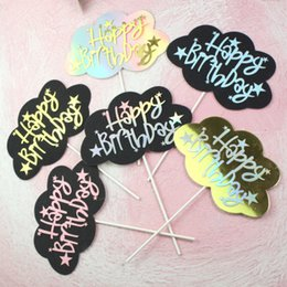 $enCountryForm.capitalKeyWord NZ - 2019 Golden black Rainbow Cloud Happy Birthday Cake Toppers Cake Decorations Baby Shower Wedding Party Supplies
