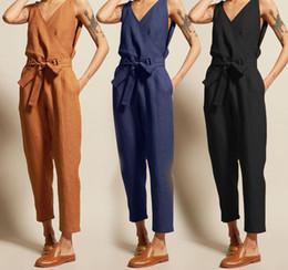 Women S Cotton Jumpsuits Australia - v neck sleeveless jumpsuit summer women 2019 ladies casual rompers pants female cotton linen jumpsuits plus size S-3XL black