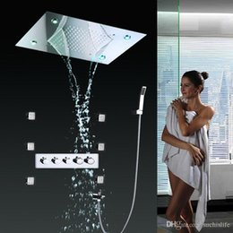 jet body sprays showers NZ - Rainfall Shower Systems Embeded Ceiling Mouthed with LED Rain shower head 20 inch - Body Spray Jets for bathroom Shower Set 20180927#