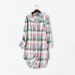 $enCountryForm.capitalKeyWord UK - Plaid Cotton Striped Women's Home Clothes Homewear Long Sleeve Button Night Dress Women Spring Summer Nightie Nightgown Woman Y19070303