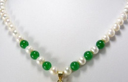 pearl green NZ - necklace Free shipping ++++Stunning White Pearl Green Jade 18KGP Dragon Pendant Necklace