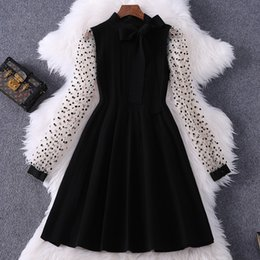 casual black tie NZ - 2020 Spring Summer Long Sleeve Stand Neck Black Fashion Knitted Ribbon Tie-Bow Panelled Short Mini Dress Fashion Casual Dresses W15M88919
