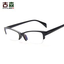 Опт Мужчины и женщины модели очки плоские декоративные очки Мода половина рамы очки рамка Оптовая
