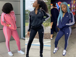 Wholesale piece set women tracksuits resale online – Women striped piece set tracksuit Cardigan pants sportswear jacket outerwear leggings outfit sweatshirt bodysuit fall winter clothing