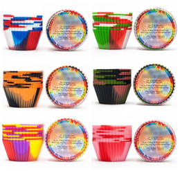 $enCountryForm.capitalKeyWord NZ - 12pcs set Camouflage Silicone Baking Muffin Cupcake Maker Reusable Cake Cup Heat-Resistant Muffin Pans Candy Molds