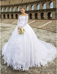 Man Made Dresses Australia - 2019 New Design Wedding Dresses Long Sleeves Brides Dresses Beautiful Wedding Gowns Chinese Factory High Quality Man Made