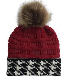 $enCountryForm.capitalKeyWord UK - New knit jacquard women Beanie Pom Pom Beanies Sports warm crochet Hats Knitted Cap Embroidery Soft Warmer adult Girls Skuilles Cap