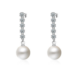 gold studs designs UK - PATICO Elegant OL Jewelry 925 Sterling Silver with Freshwater Pearl Long Tassel Cubic Zircon Crystal Design Stud Earrings