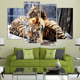 Art Canvas Prints Australia - Home Decor HD Canvas 4 Piece Baby Tigers Couple Cubs Framed Modern Print Animal Painting Wall Art For Living Room Modular Picture