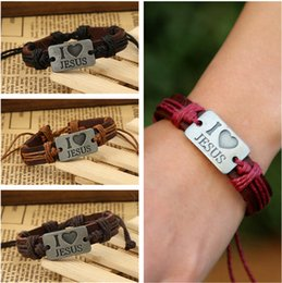 identification bracelets Canada - I love Jesus alloy leather bracelet Direct sales of European and American jewelry DHB473 ID, Identification jewelry bracelet