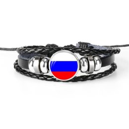 $enCountryForm.capitalKeyWord UK - Genuine Cowhide Leather Rope Beaded Bracelet Fashion Silver Glass Cabochon Russia National Flag World Cup Football Fan Jewelry For Women Men