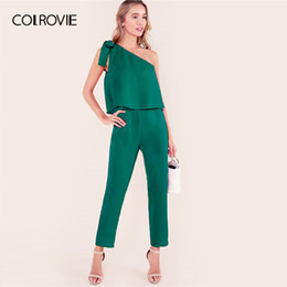 Summer Jumpsuits For Women Australia - Colrovie Green Tied One Shoulder Ruffle Embellished Asymmetrical Elegant Jumpsuits For Women Summer Sleeveless Sexy Jumpsuit T4190612