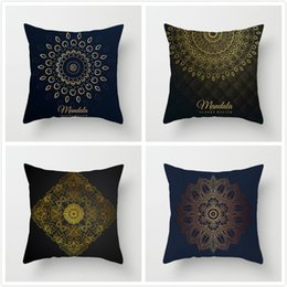 knit throw patterns NZ - Fuwatacchi Geometric Throw Pillow Case Indian Style Pattern Cushion Cover Gold Pillow Cover Home Decorative for Sofa Car 2019