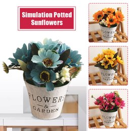 Wholesale Fashion Simulated Sunflower Simulated Potted Plants Artificial Plant Sunflower Plastic Iron Bucket Ornament Shop Home Decor
