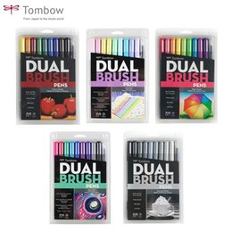 $enCountryForm.capitalKeyWord Australia - Tombow Abt Dual Art Markers Calligraphy Drawing Pen Set Bright 10-pack Blendable Brush Fine Tip Watercolor Lettering Q190604