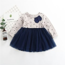Wholesale 2019 spring new girls cotton dress polka dot long sleeved princess dress
