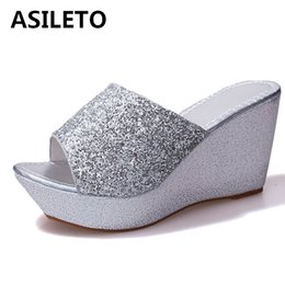 9f9907557634a ASILETO Women shoes sequined Summer wedge slippers Women high heel sandals  platform beach slipper slides flip flops pantoufle641