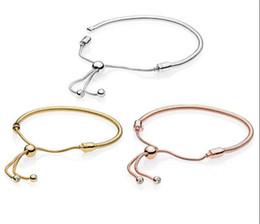 bdf5cedc9f20 Shine Moments Corchete ajustable Charm bracelet Real S925 pulseras de plata  de ley aptos para Pandora DIY encantos de los granos con la caja