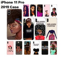 transparent clear case wallet 2021 - Luxury Designer MELANIN POPPIN Black Girl Customized Soft Clear TPU Phone Case for iPhone 11 12 Mini Pro X XS MAX 6 6s 7