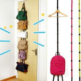 Clothes Hangers Black Australia - Adjustable Over Door Straps Hanger Hat Bag Coat Clothes Rack Hooks Organizer