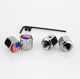 valve cap theft Australia - American flag Lockable Silver Color Anti-Theft Dust Cap Tire valve caps Badges Emblems fit for volvo more brand car [366 logo available] AAA